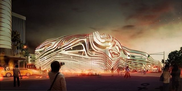 One of several proposed new exterior designs for the Petersen Museum. Image courtesy Petersen Museum.