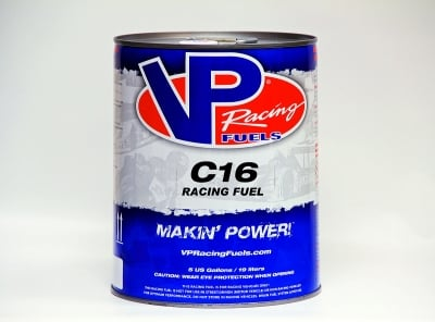 VP's C16 racing fuel has been the mainstay for many drag racing competitors for years. It's a forgiving fuel with a relatively large tuning window.
