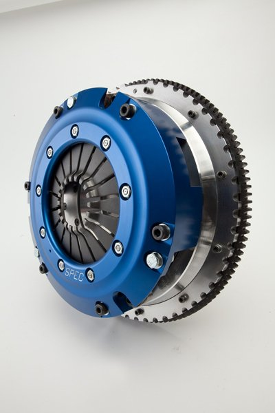 SPEC's Super Twin clutch is designed for street and track cars making extreme horsepower and torque - up to 1,500 foot-pounds. Its design offers near-stock drivability thanks to the holding power the pair of discs offers. They are available in organic, fiber, and full-metallic facings.