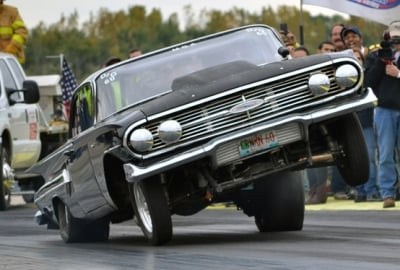 While it looks pretty cool in a photograph, this is a textbook example of the need for an anti-roll bar in a drag racing vehicle, as you can clearly see excessive twist from left to right.