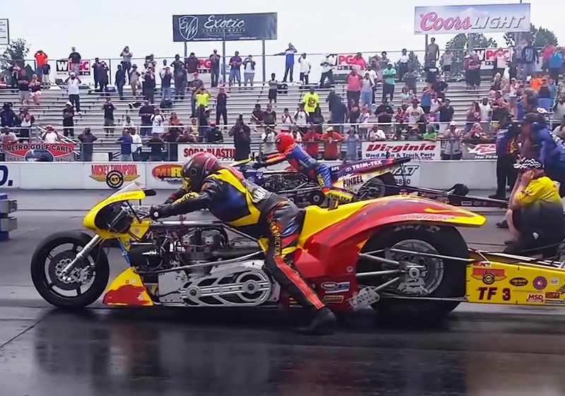 Video The First Side By Side 5 Second Top Fuel Bike Pass In