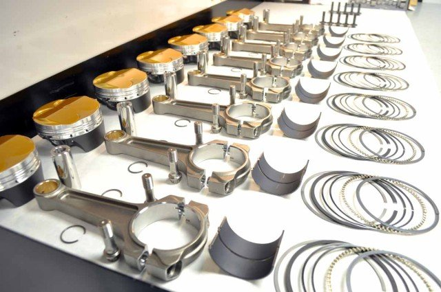 Livernois' own rotating assembly consists of a set of coated pistons, forged I-beam connecting rods, coated bearings, and a proprietary ring pack.