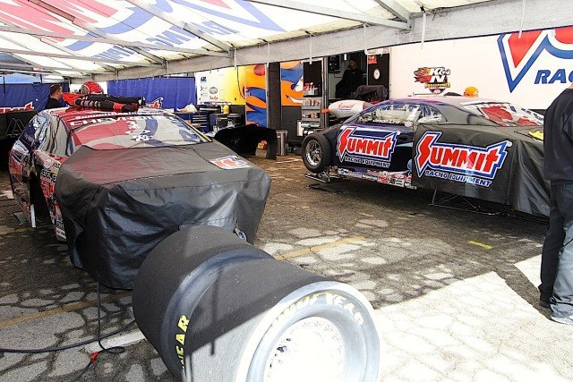 KB Racing with Greg Anderson and Jason Line have won six NHRA Pro Stock championships in this century and won't allow even the slightest peek at their equipment in the pits. Everything gets covered.