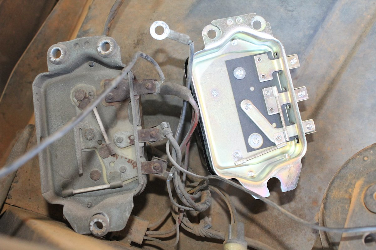 Trouble Shooting And Changing A Voltage Regulator On Vintage Chevy 1969 Corvette Wiring Diagram Exterior Side By Comparison Of The Bad To Brand New Off Shelf Parts Store Replacement