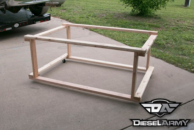 Two wood frames with wheels was fabricated to set the beds on.