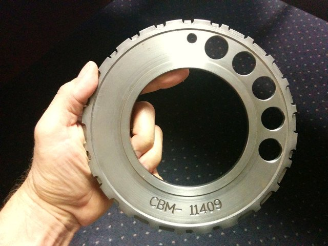 A Callies one piece, billet 24x reluctor wheel was used in the build and welded to the crankshaft to assure it would not move during operation. Once final assembled, the reluctor wheel was checked for runout to assure a good signal to the ignition.