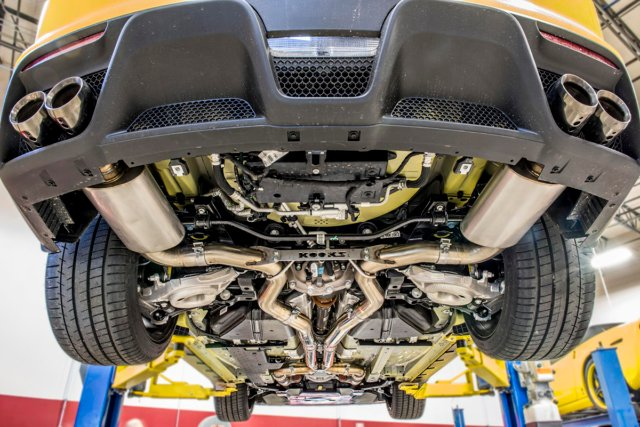 This exhaust system is sexy from stem to stern - Kooks has pulled out all the stops in creating an exhaust system for the GT350 that not only performs on the dyno, but looks amazing from any angle.