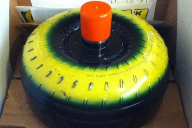 The colorful Greg Slack CDS 3500 torque converter with a 3500 stall speed.