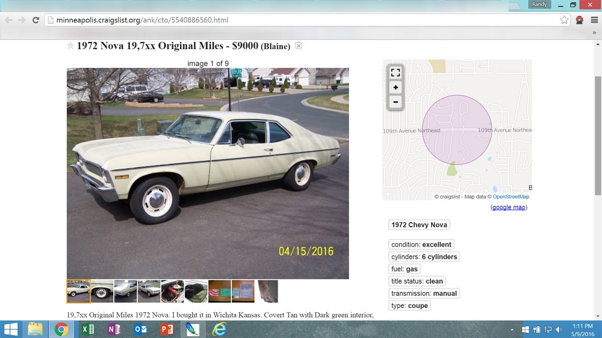 Caught On Craigslist: 1972 Nova, Low Miles And Six Cylinders