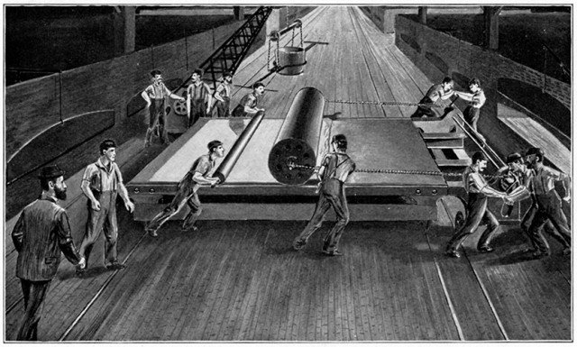 Artist's rendering of plate glass production, circa 1900. Image: Corning Museum Of Glass