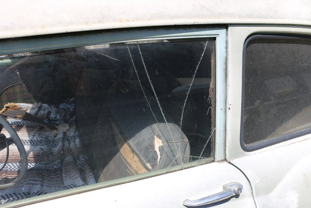 Example of broken safety glass.