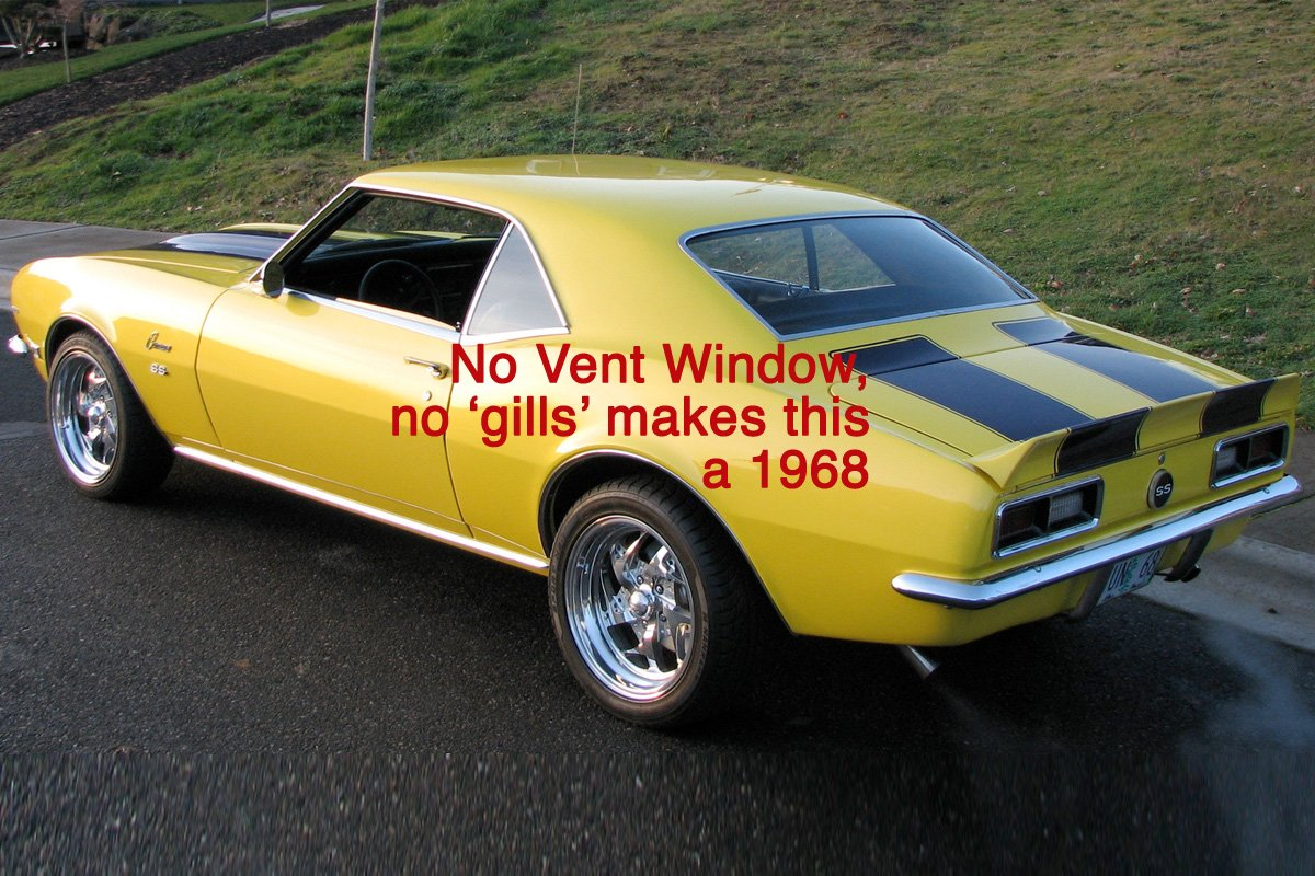 At A Glance How To Spot Differences In First Gen Camaro 1968 Chevy Project Car Center Wheel Arch Body Lines And Quarter Gills Make This 1969right The Missing Vent Window Lack Of