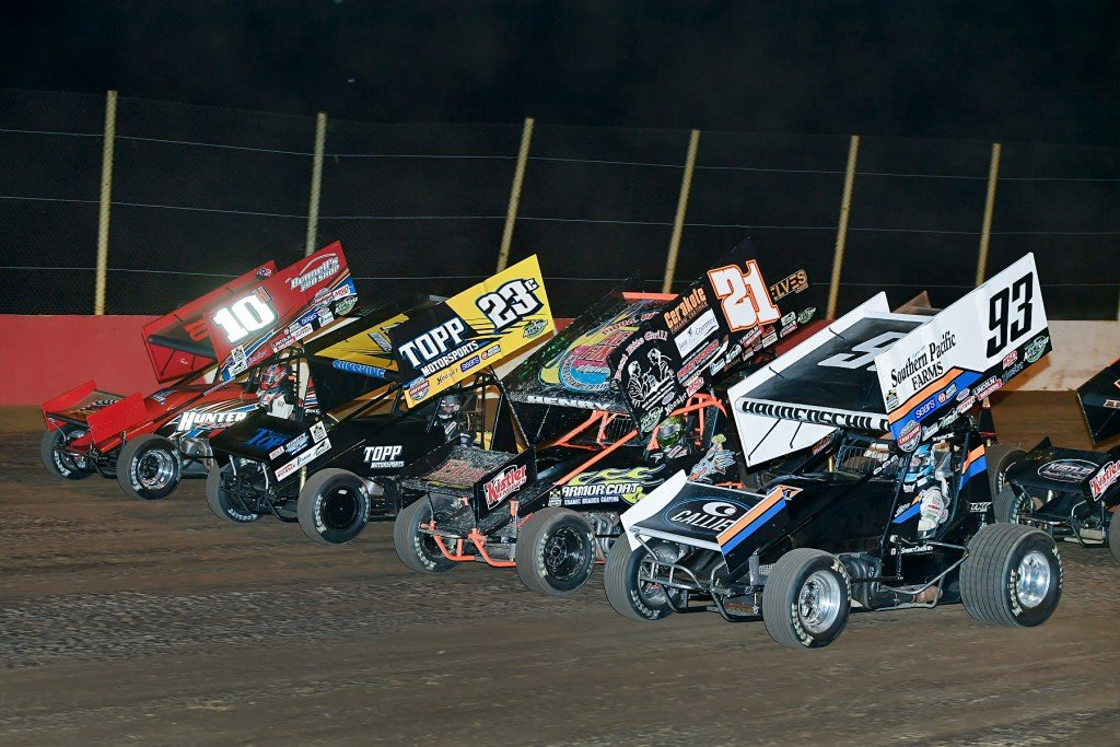 The Arctic All Star Sprint Cars four-wide at Millstream (Mike Campbell photo)