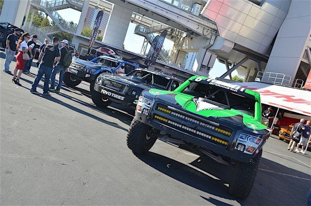 The trucks on display gave fans an up close look at these 900 horsepower vehicles.
