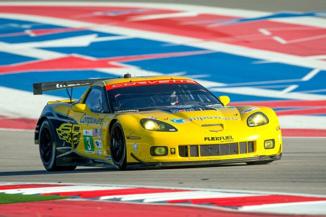 Antonio Garcia and Jan Magnussen, drivers of the #3 Compuware Corvette C6.R, race to victory Saturday, September 21, 2013 in the GT Class of the American Le Mans Series race at Circuit of The Americas in Austin, Texas. Tommy Milner and Oliver Gavin, drivers of the #4 Compuware Corvette C6.R did not finish due to mechanical difficulties. (Photo by Richard Prince for Corvette Racing)