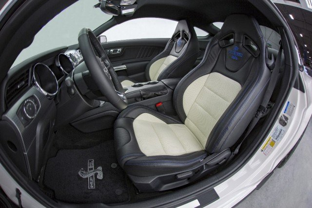 Inside the Super Snake is adorned with 50th Anniversary badging and stitching as well as a four-point roll bar, harness belts and a rear seat delete. Katzkin leather seating is optional.