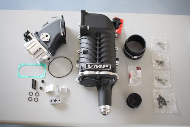 Built just for the Terminator, the VMP Gen2R supercharger features a one-piece housing with a high-flow inlet. It is a direct-replacement for the stock Eaton M112 blower and it will clear the factory hood. (Photo Credit: VMP Performance)