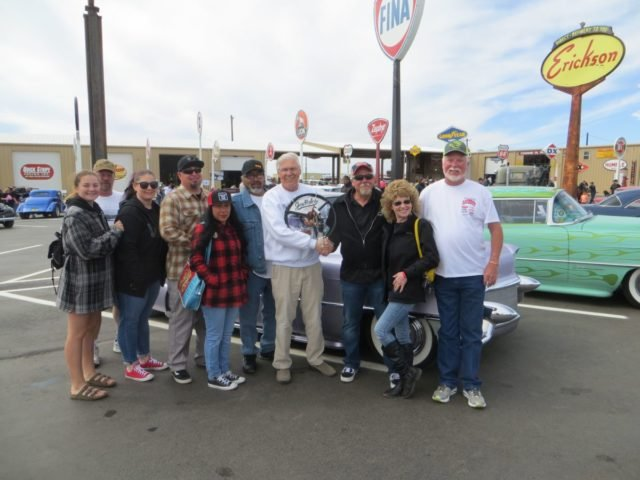 The Gas Holes Club pick-hiding behind the member's is the author's 1955 Cadillac driven down from Aurora, Colorado, recipient of their award!