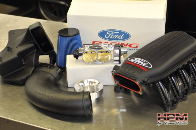 The Cobra Jet intake manifold is designed to bolster top end power without sacrificing low end torque in the process. And since the factory intake tube isn't compatible with this intake, Ford offers a matching Cobra Jet cold air intake as well, which is based off the intake used in the naturally aspirated Cobra Jet drag car.