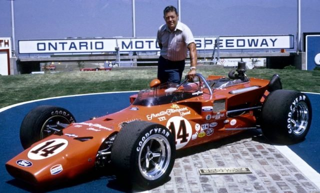 Jim McElreath and his #14 car which he used to earn the inaugural victory in California on September 6, 1970 at the Ontario Motor Speedway. Photo Hot Wheels Race Tracks