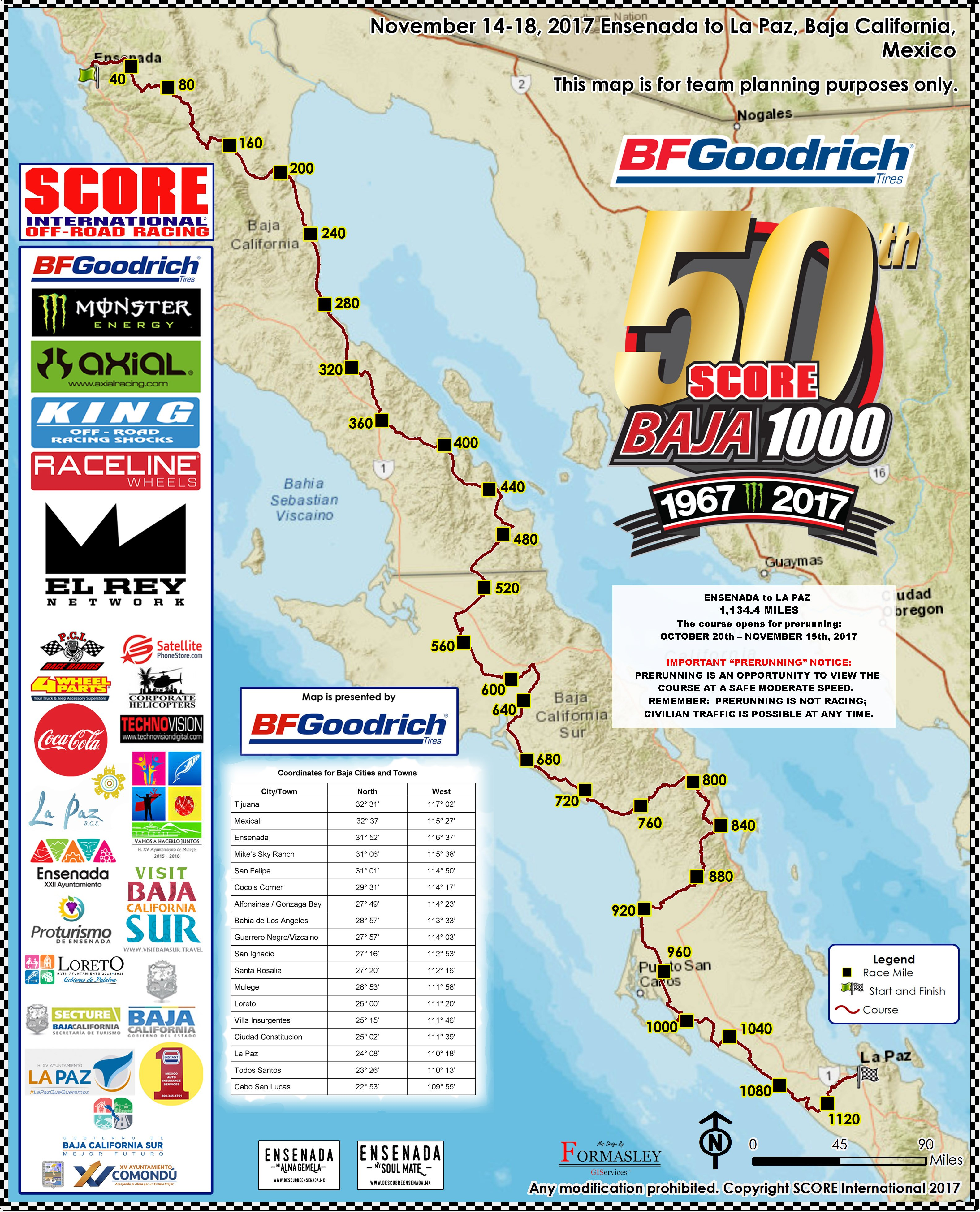 Baja 1000 Map Off Road Expo 2017: 50th Anniversary Baja 1000 Course Map Unveiled