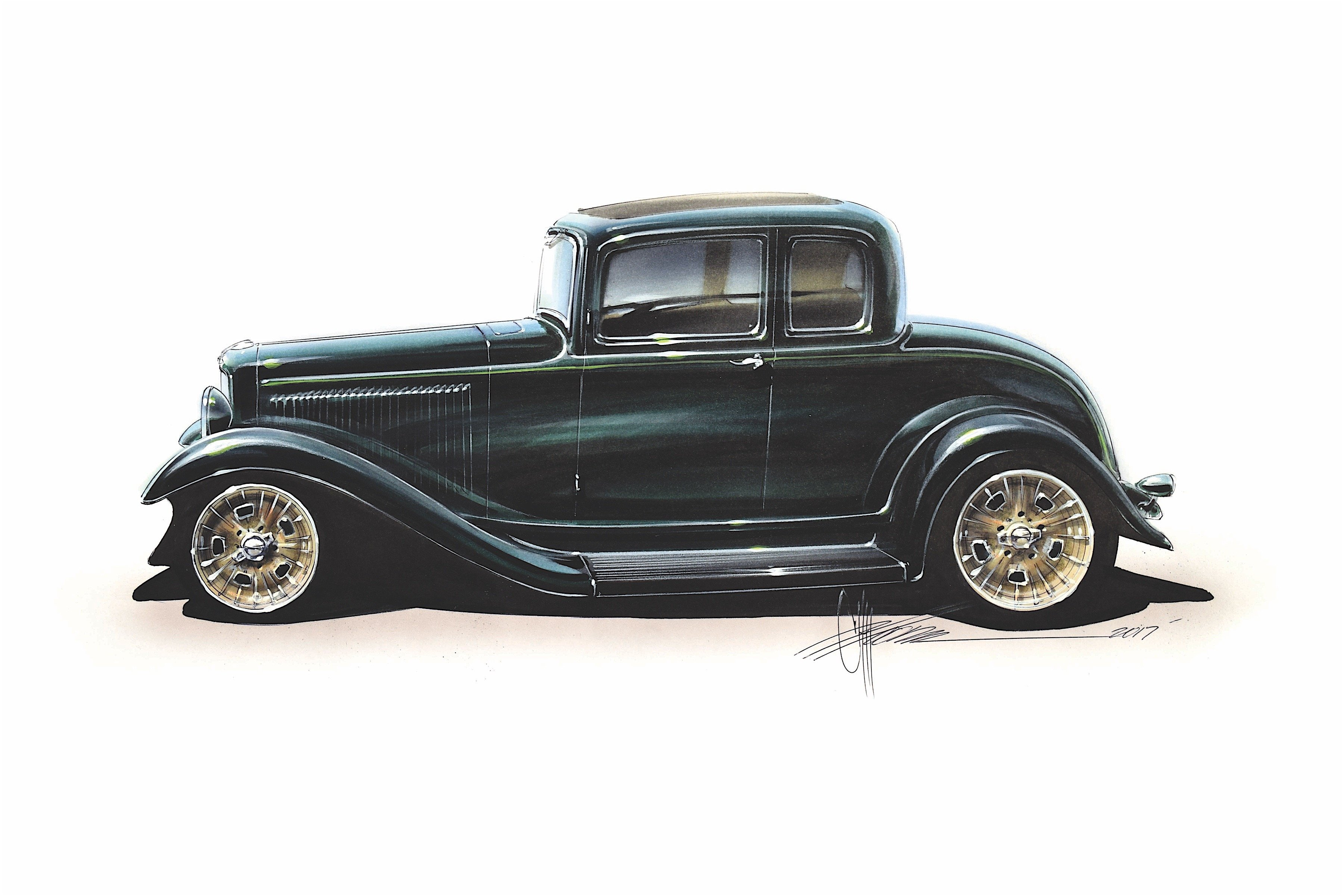 Chip foose the car building legend television personality and hot rodding hero unveiled his latest completed project a period modified five window