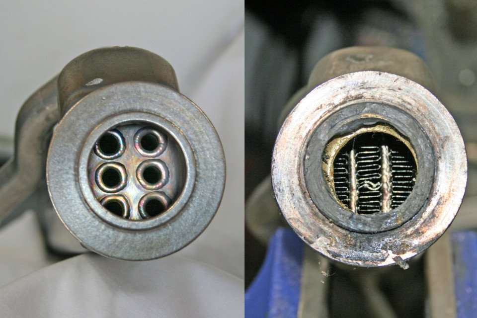 photo comparison of a Bullet Proof Diesel EGR cooler tube style core vs a factory finned style core