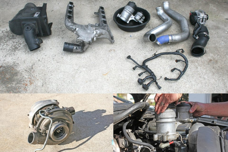 photo showing all of the components that need to be removed to get to the EGR cooler