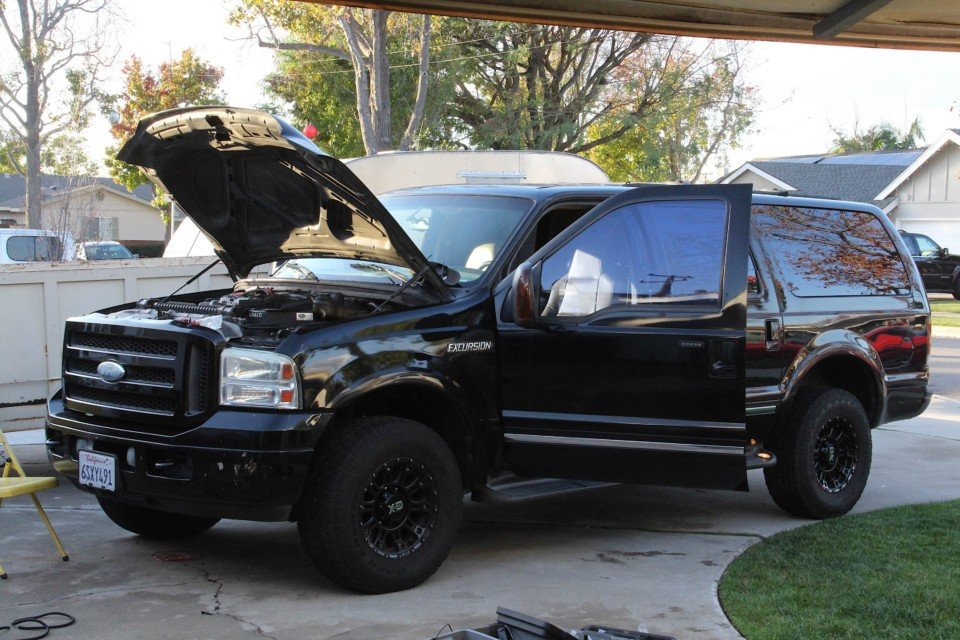 image of 6.0-liter Excursion with the hood up