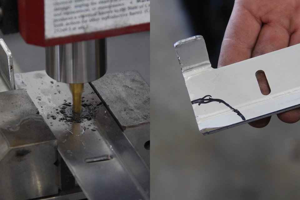 image of lower bracket with hole being milled. Image of lower bracket marked for clearancing.